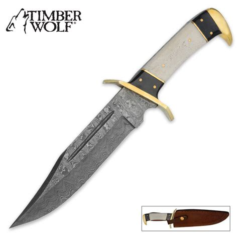 Discount Kitchen Knives Timber Wolf Damascus Steel Bowie Knife Amp Leather Sheath