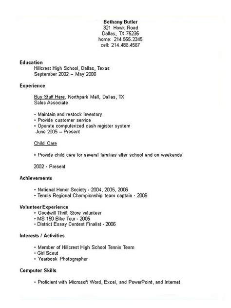 Sample Resume Format: High School Resume Template