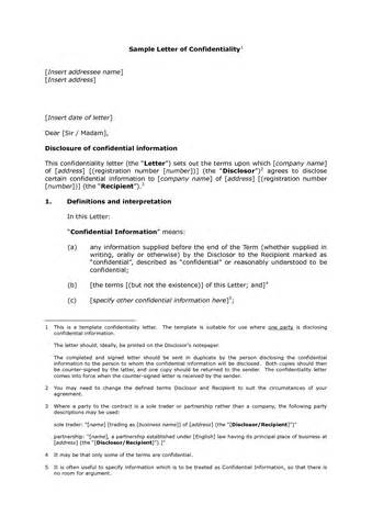 Letter Of Agreement Confidentiality Confidentiality Agreement Sle Letter
