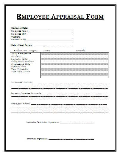 performance appraisal form free word s templates
