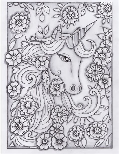 coloring pages of unicorns for adults unicorn greyscale drawing unedited adult coloring books