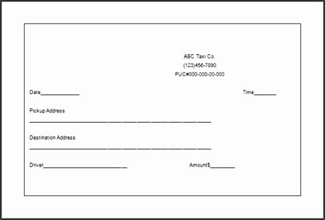 Cab Receipt Template Word by 4 Taxi Receipt Template In Excel Sletemplatess
