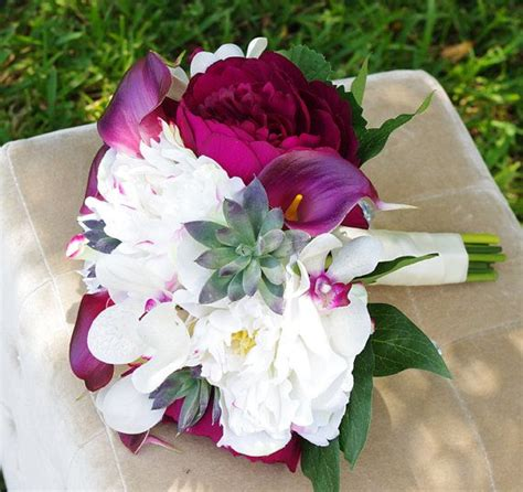 silk wedding bouquet plum peonies calla lilies succulent