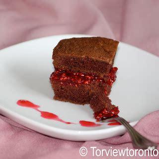Jam Mk Cut torviewtoronto chocolate cake with raspberry jam