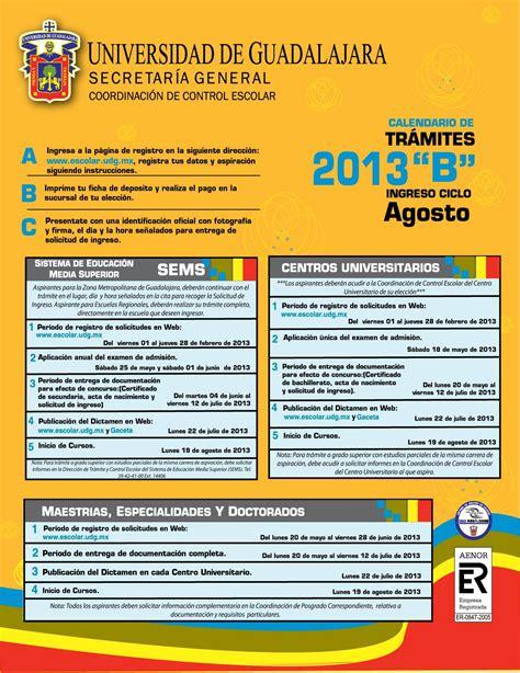 Calendario A Udg Calendario De Tr 225 Mites 2013 Quot B Quot Centros Universitarios