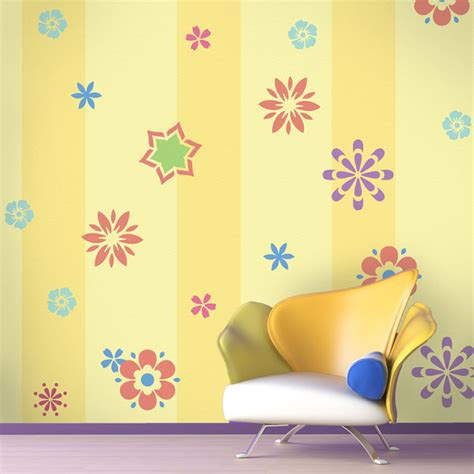 Bedroom Wall Stencils by Fabulous Flower Self Adhesive Stencil Kit For Painting