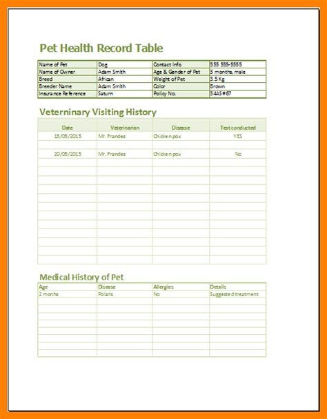 veterinary medical records templates ledger review