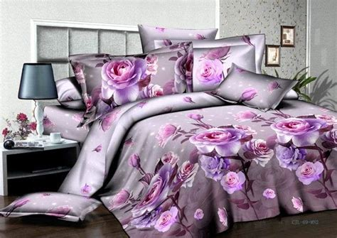 purple rose comforter set purple rose 3d printing bedding set 4pcs bedlinen