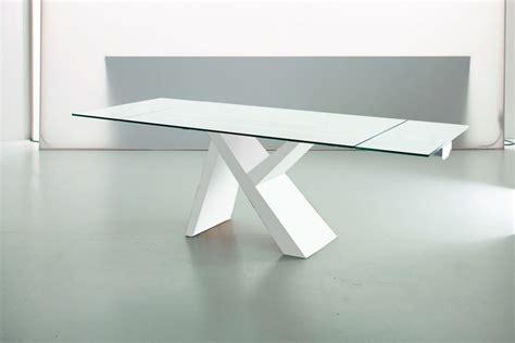 tavolo bianco laccato lucido akille tavolo di design in legno fisso o allungabile