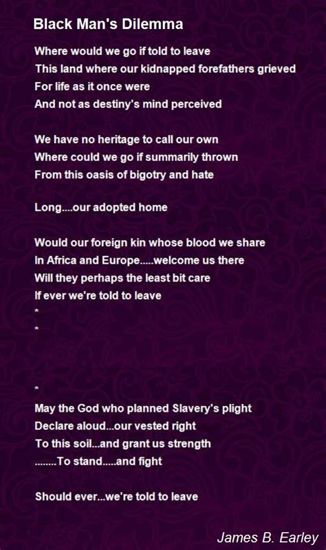 poem for black s dilemma poem by b earley poem