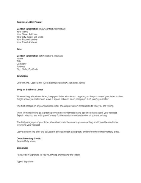 Letter Template by Tips On How To Write The Professional Business Letter