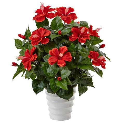 Home Depot Artificial Plants by Nearly Indoor Hibiscus Artificial Flowering Plant