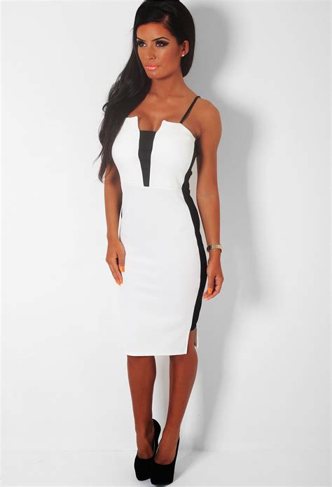 Bw Dress black and white midi dress dresscab