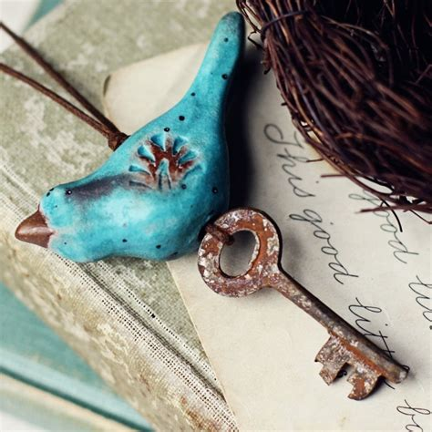 Handmade Bird Ornaments - aqua bird folk ornament handmade ceramic