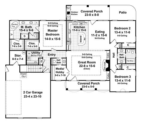 3 feet plan southern style house plan 3 beds 2 5 baths 2000 sq ft