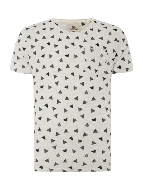 pattern t shirts online bellfield regular fit triangle pattern crew neck t shirt