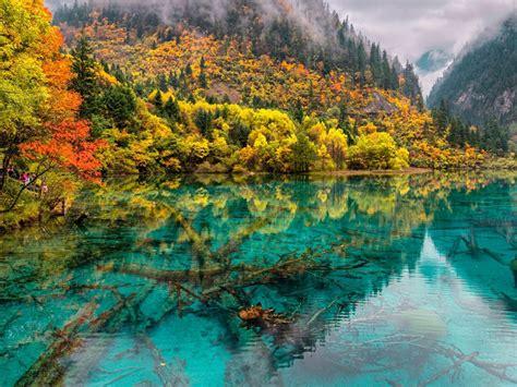 crystal lake china jiuzhaigou national park hd wallpaper