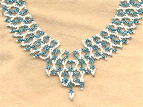 bead netting necklace atalanta teal and ivory netted seed bead collar necklace