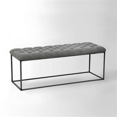 west elm tufted bench tufted bench stone wash granite