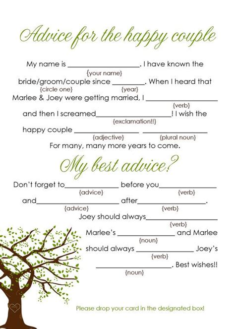 guest libs wedding edition template custom oak tree wedding mad lib advice cards guest book