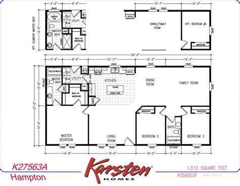Karsten Homes Floor Plans by Avalon Series Manufactured Home Floorplans Double Wide