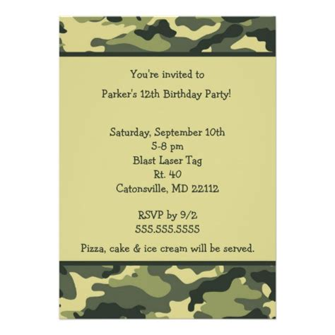 camouflage invitation template camo army green birthday invitation 5 quot x 7
