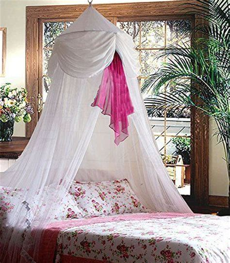 Large Bed Canopy White W Pink Princess Style Polyester Princess Canopy Beds For