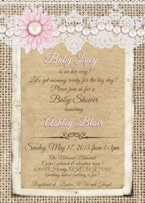 Vintage Invitations Baby Shower by Burlap And Lace Pink Pearl Vintage Baby By
