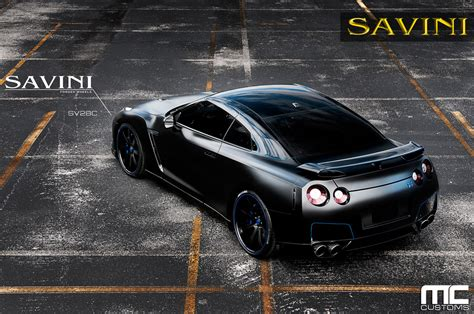 nissan gtr matte black gold rims gt r savini wheels