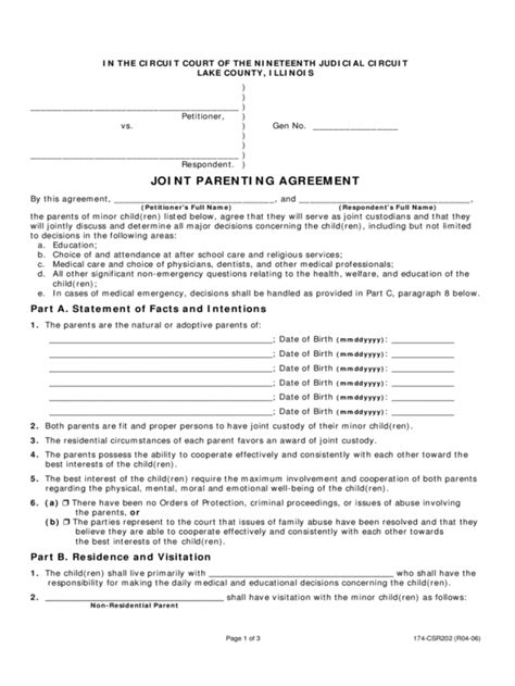 Joint Custody Parenting Plan Template free joint custody agreement template