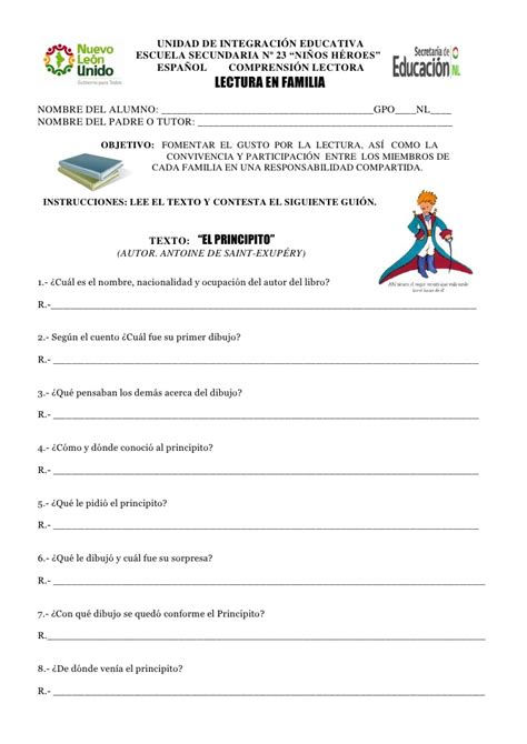 gui 243 n de lectura en familia el principito pdf - Preguntas Comprension De Lectora El Principito