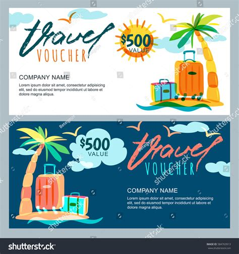travel certificate template vector gift travel voucher template tropical stock vector