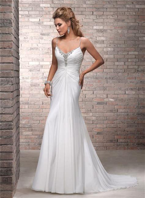 simple   spaghetti strap ruched chiffon beaded wedding dress