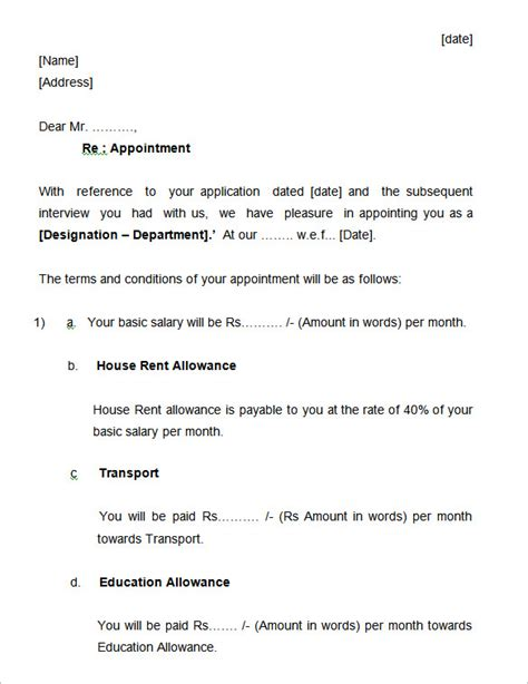 appointment letter for 31 appointment letter templates free sle exle