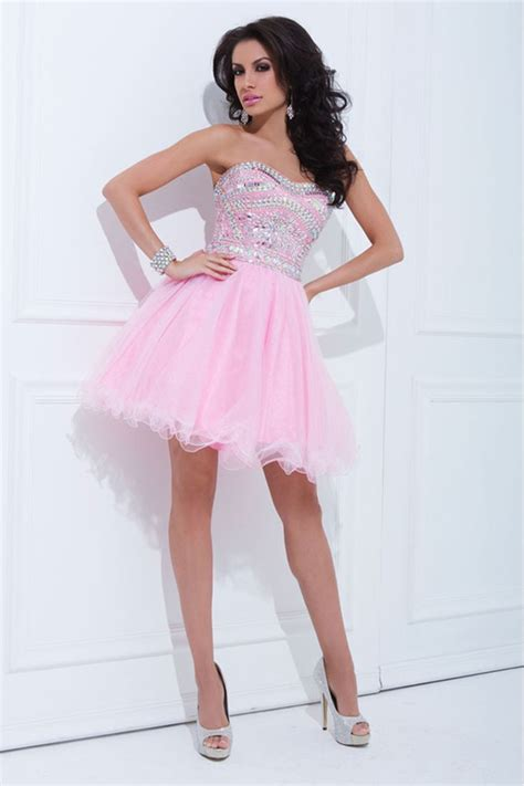 8 Beautiful Cocktail Dresses by 2014 Tulle Prom Dress Strapless A Line Mini With