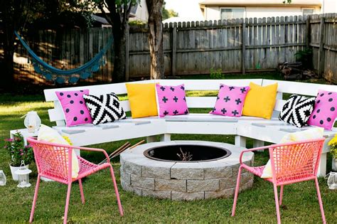 ana white diy curved fire pit bench featuring a