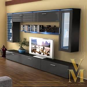 wall unit living room furniture madrid v2 in black grey