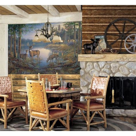 Faux Log Cabin Walls by Walnut Brown Faux Log Cabin With Grout Wallpaper Wg0437 All 4 Walls Wallpaper