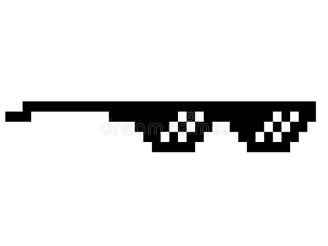Pixel Sunglasses Meme - black thug life meme like glasses in pixel art stock