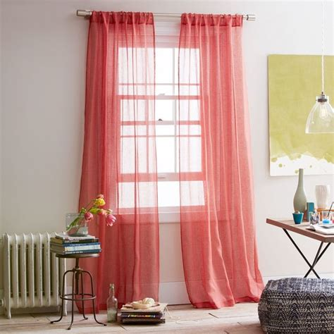 Coral Colored Curtains Sheer Linen Window Panel Coral Contemporary Curtains By West Elm