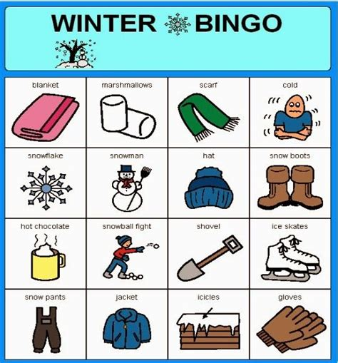 Winter Bingo Card Template by 49 Best Images About Speech Therapy Winter On