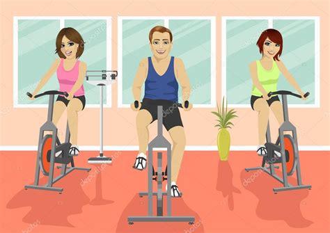 imagenes fitness dibujos grupo de personas en el gimnasio ejercitando sus piernas
