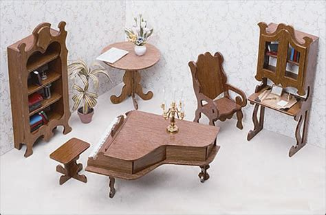 miniature doll house furniture unfinished dollhouse furniture library