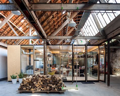 Office space amp temporary housing inside former textile factory