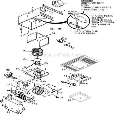 broan 696 fan and light broan 696 parts list and diagram ereplacementparts com