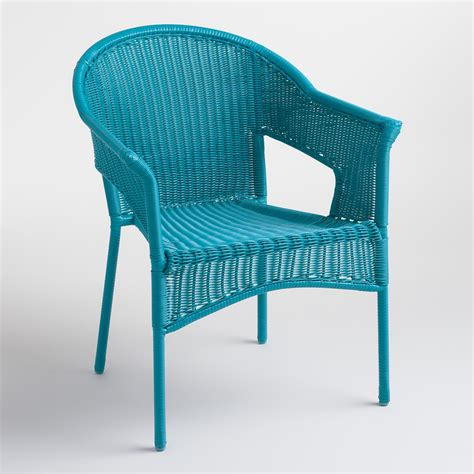 Turquoise Patio Chairs Surf Blue All Weather Wicker Stacking Tub Chairs Everything Turquoise