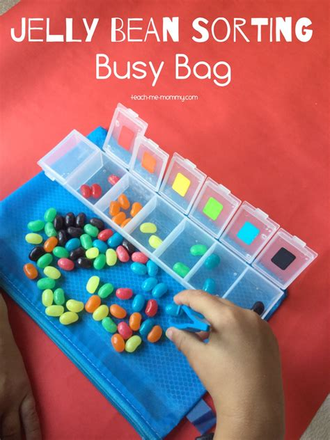 Color Sort Busy Activity For Children 365 Days Of Crafts - jelly beans busy bag teach me