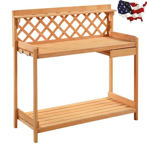 solid wooden benches outdoor potting bench outdoor garden planting work bench station