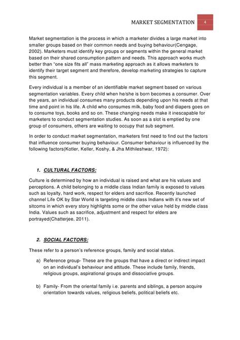 Market Segmentation Essay by Term Paper On Market Segmentation