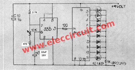 Sepatu Running Blink led chaser circuit by ic 4017 ic 555 eleccircuit